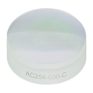 AC254-030-C - f = 30.0 mm, Ø1in Achromatic Doublet, ARC: 1050 - 1700 nm