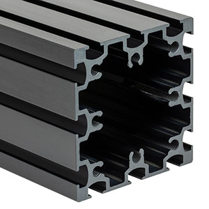 XE75L20 - 75 mm Square Construction Rail, 20in Long, 1/4in-20 Taps