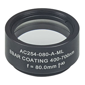 AC254-080-A-ML - f=80 mm, Ø1in Achromatic Doublet, SM1-Threaded Mount, ARC: 400-700 nm