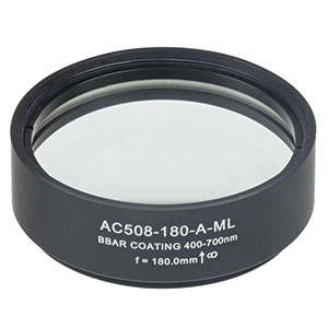 AC508-180-A-ML - f=180 mm, Ø2in Achromatic Doublet, SM2-Threaded Mount, ARC: 400-700 nm