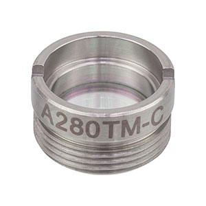 A280TM-C - f = 18.40 mm, NA = 0.15, Mounted Rochester Aspheric Lens, AR: 1050-1620nm