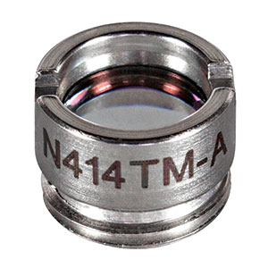 N414TM-A - f = 3.30 mm, NA = 0.47 Mounted Rochester Aspheric Lens, AR: 350 - 700 nm