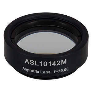 ASL10142M - Ø1in Aspheric Lens, SM1 Mounted, f = 79.0 mm, NA = 0.143, Uncoated