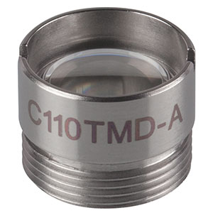 C110TMD-A - f = 6.24 mm, NA = 0.40, Mounted Geltech Aspheric Lens, AR: 350 - 700 nm