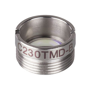 C230TMD-B - f = 4.51 mm, NA = 0.55, Mounted Geltech Aspheric Lens, AR: 600 - 1050 nm