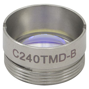 C240TMD-B - f = 8.00 mm, NA = 0.5, Mounted Geltech Aspheric Lens, AR: 600 - 1050 nm