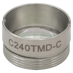 C240TMD-C - f = 8.00 mm, NA = 0.5, Mounted Geltech Aspheric Lens, AR: 1050 - 1700 nm