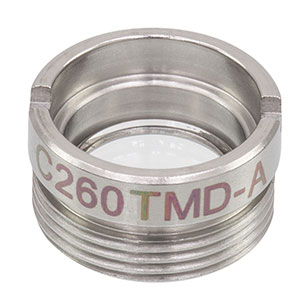 C260TMD-A - f = 15.29 mm, NA = 0.16, Mounted Geltech Aspheric Lens, AR: 350 - 700 nm