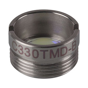 C330TMD-B - f = 3.1 mm, NA = 0.7, Mounted Geltech Aspheric Lens, AR: 600 - 1050 nm