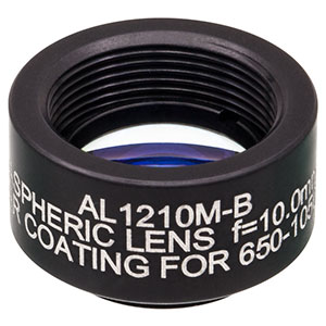 AL1210M-B - Ø12.5 mm S-LAH64 Mounted Aspheric Lens, f=10 mm, NA=0.55, ARC: 650-1050 nm