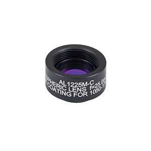 AL1225M-C - Ø12.5 mm N-BK7 Mounted Aspheric Lens, f=25 mm, NA=0.23,  ARC: 1050-1700 nm