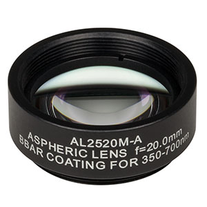 AL2520M-A - Ø25 mm S-LAH64 Mounted Aspheric Lens, f=20 mm, NA=0.54, ARC: 350-700 nm