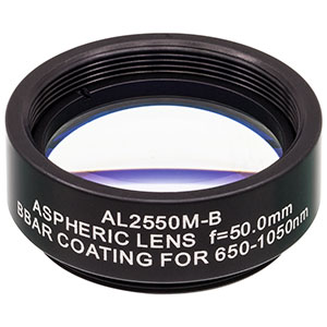 AL2550M-B - Ø25 mm N-BK7 Mounted Aspheric Lens, f=50 mm, NA=0.23, ARC: 650-1050 nm