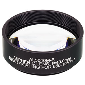 AL5040M-B - Ø50 mm S-LAH64 Mounted Aspheric Lens, f=40 mm, NA=0.55, ARC: 650-1050 nm