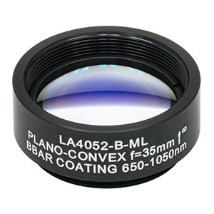 LA4052-B-ML - Ø1in UVFS Plano-Convex Lens, SM1-Threaded Mount, f = 35.0 mm, ARC: 650 - 1050 nm