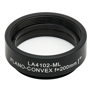 LA4102-ML - Ø1in UVFS Plano-Convex Lens, SM1-Threaded Mount, f = 200.0 mm, Uncoated