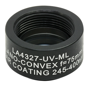 LA4327-UV-ML - Ø1/2in UVFS Plano-Convex Lens, SM05-Threaded Mount, f = 75.0mm, ARC: 245-400 nm