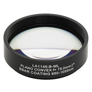 LA1145-B-ML - Ø2in N-BK7 Plano-Convex Lens, SM2-Threaded Mount, f = 75 mm, ARC: 650-1050 nm