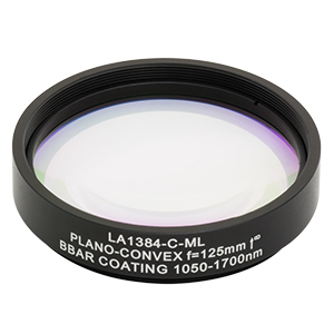LA1384-C-ML - Ø2in N-BK7 Plano-Convex Lens, SM2-Threaded Mount, f = 125.0 mm, ARC: 1050-1700 nm