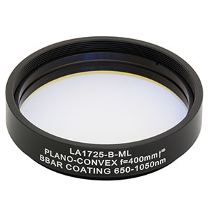 LA1725-B-ML - Ø2in N-BK7 Plano-Convex Lens, SM2-Threaded Mount, f = 400 mm, ARC: 650-1050 nm