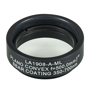 LA1908-A-ML - Ø1in N-BK7 Plano-Convex Lens, SM1-Threaded Mount, f = 500 mm, ARC: 350-700 nm