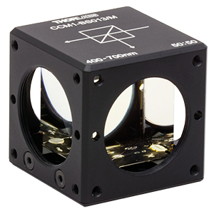 CCM1-BS013/M - 30 mm Cage Cube-Mounted Non-Polarizing Beamsplitter, 400 - 700 nm, M4 Tap
