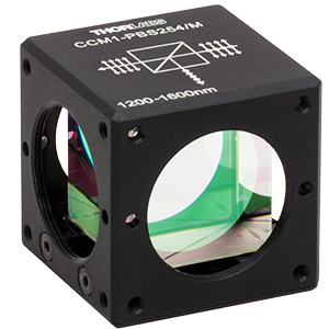 CCM1-PBS254/M - 30 mm Cage Cube-Mounted Polarizing Beamsplitter Cube, 1200-1600 nm, M4 Tap