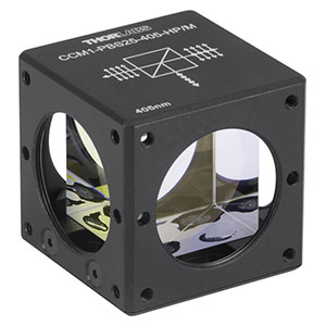 CCM1-PBS25-405-HP/M - 30 mm Cage-Cube-Mounted, High-Power, Polarizing Beamsplitter Cube, 405 nm, M4 Tap