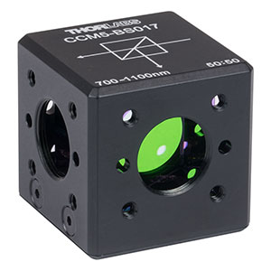 CCM5-BS017 - 16 mm Cage Cube-Mounted Non-Polarizing Beamsplitter, 700 - 1100 nm, 8-32 Tap