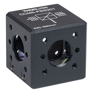 CCM5-PBS201 - 16 mm Cage-Cube-Mounted Polarizing Beamsplitter Cube, 420-680 nm, 8-32 Tap