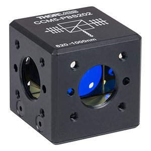 CCM5-PBS202 - 16 mm Cage-Cube-Mounted Polarizing Beamsplitter Cube, 620-1000 nm, 8-32 Tap