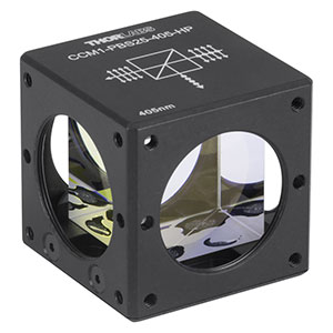 CCM1-PBS25-405-HP - 30 mm Cage-Cube-Mounted, High-Power, Polarizing Beamsplitter Cube, 405 nm, 8-32 Tap