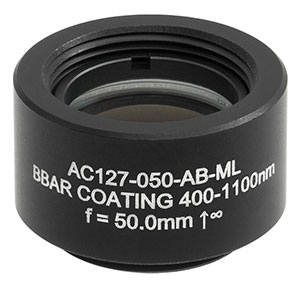 AC127-050-AB-ML - f = 50.0 mm, Ø1/2in Achromatic Doublet, SM05-Threaded Mount, ARC: 400 - 1100 nm