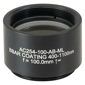 AC254-100-AB-ML - f = 100.0 mm, Ø1in Achromatic Doublet, SM1-Threaded Mount, ARC: 400 - 1100 nm