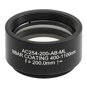 AC254-200-AB-ML - f = 200.0 mm, Ø1in Achromatic Doublet, SM1-Threaded Mount, ARC: 400 - 1100 nm