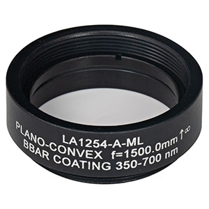 LA1254-A-ML - Ø1in N-BK7 Plano-Convex Lens, SM1-Threaded Mount, f = 1500 mm, ARC: 350-700 nm