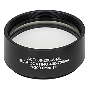 ACT508-200-A-ML - f=200 mm, Ø2in Achromatic Doublet, SM2-Threaded Mount, ARC: 400-700 nm