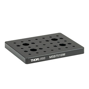 MSB7510/M - 75 mm x 100 mm x 9.5 mm Mini-Series Aluminum Breadboard, M4 and M6 High-Density Taps