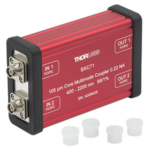 BXC71 - 2x2 Boxed Multimode Fiber Optic Coupler, Low OH, Ø105 µm Core, 0.22 NA, 99:1 Split, FC/PC