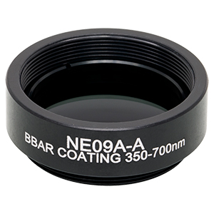 NE09A-A - Ø25 mm Absorptive Neutral Density Filter, SM1-Threaded Mount, ARC: 350-700 nm, OD: 0.9