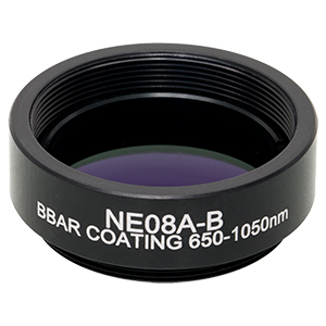 NE08A-B - Ø25 mm Absorptive Neutral Density Filter, ARC: 650-1050 nm, SM1-Threaded Mount, OD: 0.8