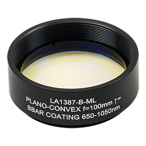 LA1387-B-ML - Ø1.5in N-BK7 Plano-Convex Lens, SM1.5-Threaded Mount, f = 100 mm, ARC: 650-1050 nm