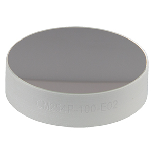 CM254P-100-E02 - Ø1in Dielectric-Coated Concave Mirror, 400 - 750 nm, f = 100 mm, Back Side Polished