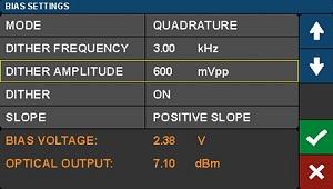 Modulator Bias Controller Dither Settings Screen