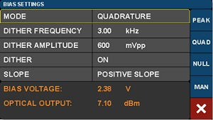 Modulator Bias Controller Modulator Operating Mode Settings Screen