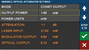 Modulator Bias Controller Variable Optical Attenuator Settings Screen